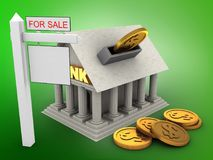 3d Bank. 3d illustration of Bank over green background with coins and sale sign Royalty Free Stock Photos