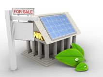 3d Bank. 3d illustration of Bank over white background with alternative energy and sale sign Stock Photography