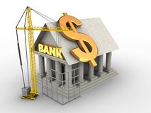 3d Bank. 3d illustration of Bank over white background with dollar sign and construction site Royalty Free Stock Images