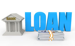 3d bank and loan concept. 3d render of bank and loan concept Royalty Free Stock Image