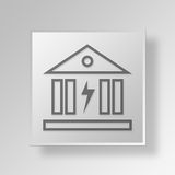 3D Bank Power icon Business Concept. 3D Symbol Gray Square Bank Power icon Business Concept Royalty Free Stock Photo