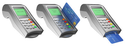 3D Bank terminal. With credit card. Isolated white background Royalty Free Stock Image