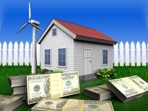 3d bankbiljetten over gras en omheining Stock Afbeelding