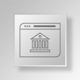 3D Banking Web Browser icon Business Concept. 3D Symbol Gray Square Banking Web Browser icon Business Concept Stock Images