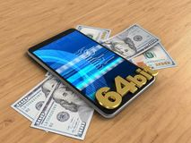 3d banknotes. 3d illustration of mobile phone over wooden background with banknotes and 64 bit sign Royalty Free Stock Photos