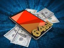 3d banknotes. 3d illustration of mobile phone over digital background with banknotes and 64 bit sign Stock Illustration