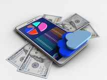 3d banknotes. 3d illustration of white phone over white background with banknotes and clouds Royalty Free Illustration
