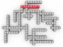 3d Bankruptcy concept in word tag cloud on white background Royalty Free Stock Photo