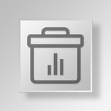 3D bar chart briefcase icon Business Concept Stock Photo