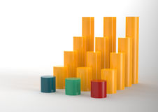 3D Bar Chart and chart growth. As concept Royalty Free Stock Image