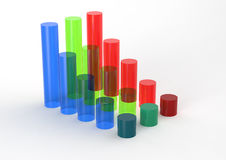 3D Bar Chart and chart growth Royalty Free Stock Photos
