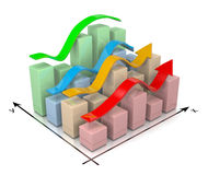 3D Bar Chart. With Colorful Arrows 3D Illustration on White Background Royalty Free Stock Photography