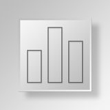 3D bar chart icon Business Concept Royalty Free Stock Photos