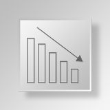 3D bar chart icon Business Concept Royalty Free Stock Photography