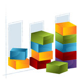 3d Bar Chart. An image of a 3d bar chart Royalty Free Stock Images
