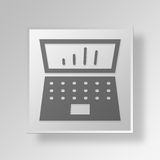 3D Bar chart Laptop icon Business Concept. 3D Symbol Gray Square Bar chart Laptop icon Business Concept Royalty Free Stock Photos