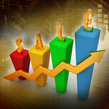 3D Bar chart and sales growth. In color background Stock Photo