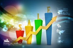 3D Bar chart and sales growth Royalty Free Stock Image