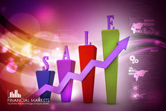 3D Bar chart and sales growth Stock Photo