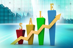 3D Bar chart and sales growth. In color background Stock Images