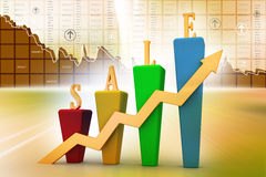 3D Bar chart and sales growth. In color background Royalty Free Stock Photography
