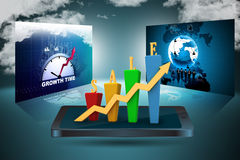 3D Bar chart and sales growth. In color background Stock Image