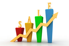3D Bar chart and sales growth. Isolated in white Stock Images