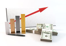 3d Bar graph arrow Growth up of investment with money 100 dollar. Rendering 3 Dimensions image on a white background; The idea about of Financial and Investment Stock Image
