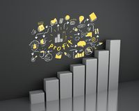 3d Bar graph with business sketch at wall. 3d illustration. Bar graph with business sketch at wall. Business and strategy concept Royalty Free Stock Photography