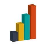 3d bar graph. Colored bar graph 3d  illustration flat style design Stock Photos
