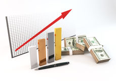 3d Bar graph Growth up of investment with money 100 dollar mass. Rendering 3 Dimensions image on a white background; The idea about of Financial and Investment Stock Photos
