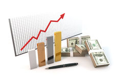 3d Bar graph Growth up RISK of Business with money 100 dollar ma Royalty Free Stock Image