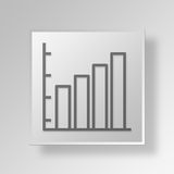 3D bar graph icon Business Concept. 3D Symbol Gray Square bar graph icon Business Concept Stock Photos