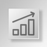 3D bar graph icon Business Concept. 3D Symbol Gray Square bar graph icon Business Concept Royalty Free Stock Images