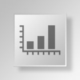 3D bar graph icon Business Concept. 3D Symbol Gray Square bar graph icon Business Concept Stock Image