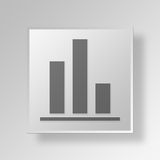 3D bar graph icon Business Concept. 3D Symbol Gray Square bar graph icon Business Concept Stock Photo