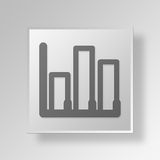 3D bar graph icon Business Concept. 3D Symbol Gray Square bar graph icon Business Concept Royalty Free Stock Photos