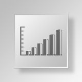 3D bar graph icon Business Concept. 3D Symbol Gray Square bar graph icon Business Concept Royalty Free Stock Image