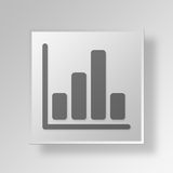 3D bar graph icon Business Concept. 3D Symbol Gray Square bar graph icon Business Concept Stock Photography