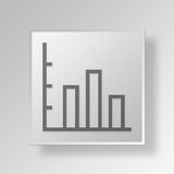 3D bar graph icon Business Concept. 3D Symbol Gray Square bar graph icon Business Concept Stock Images