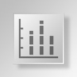 3D bar graph icon Business Concept. 3D Symbol Gray Square bar graph icon Business Concept Royalty Free Stock Photo