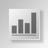3D bar graph icon Business Concept. 3D Symbol Gray Square bar graph icon Business Concept Royalty Free Stock Photography
