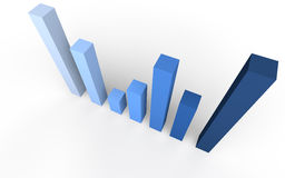 3d bar graph wide angle view from top Stock Images