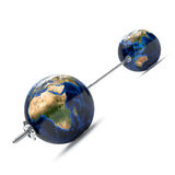 3d barbell with earth. Weights isolated on white background Royalty Free Stock Photo