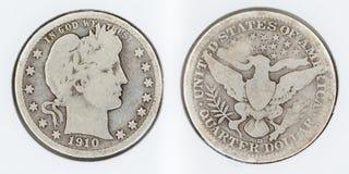 1910-D Barber Quarter Lizenzfreie Stockfotografie
