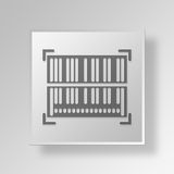 3D Barcode icon Business Concept. 3D Symbol Gray Square Barcode icon Business Concept Stock Image