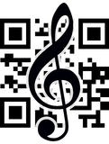 2D barcode and treble clef. Stock Images