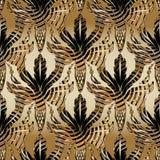 3d Baroque oak leaves and acorns seamless pattern. Vector antique interesting background. Wallpaper. Abstract striped oak. Leaves, lattice acorns, vintage stock illustration