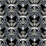 3d Baroque seamless pattern. Abstract modern vector background. Lattice silver metallic decorative love hearts. Damask flowers, scroll leaves, antique floral Royalty Free Stock Photos