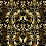 3d Baroque vector seamless pattern. Vintage gold and black ornamental background. Antique decorative Damask ornaments in Victorian style. Royal design. Surface Royalty Free Stock Images